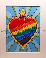 Rainbow Burning Heart Original acrylic on watercolor