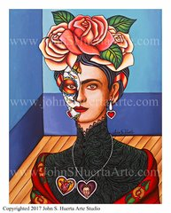 Frida in black lace 11x14 acrylic on canvas board