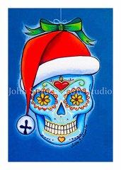 Santa Hat sugar skull set of 12 Holiday blank greeting cards
