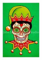 Elf Sugar skull set of 12 Holiday blank greeting cards