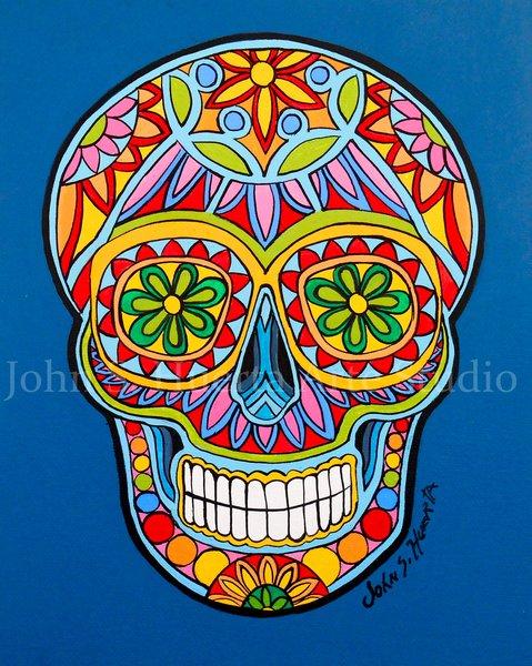 Sugar Skull In Blue John S Huerta Arte
