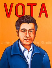 Cesar Chavez Vota II 5x7 art greeting card