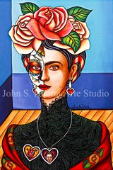 """""""Frida in Black lace"""" 8x10 signed matted print"""