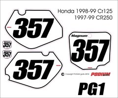 Honda 1998-1999 CR125 and 1997-1999 CR250 PG1 Numberplate Decals