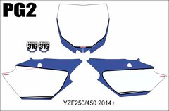 Yamaha YZF250/450 2014+ 2016 YZ250/450FX Numberplate Decals PG2