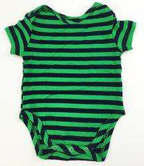 baby onesie short sleeve green/navy stripes (size xs)