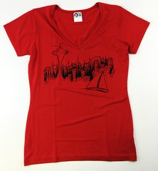 "Women's Outdoor Panda short sleeve bamboo ""Seattle"" red V"