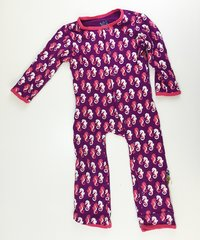 toddler coverall pajamas w/ bottom flap purple sea horses 2T
