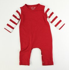 baby romper long sleeve red w/ red/white stripes