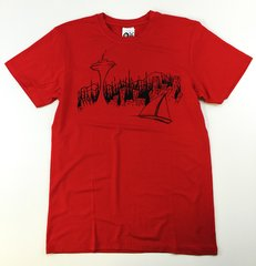 "Men's Outdoor Panda short sleeve ""Seattle"" red T"