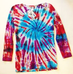 Women's Outdoor Panda long sleeve bamboo crunch berries Tie-dye V
