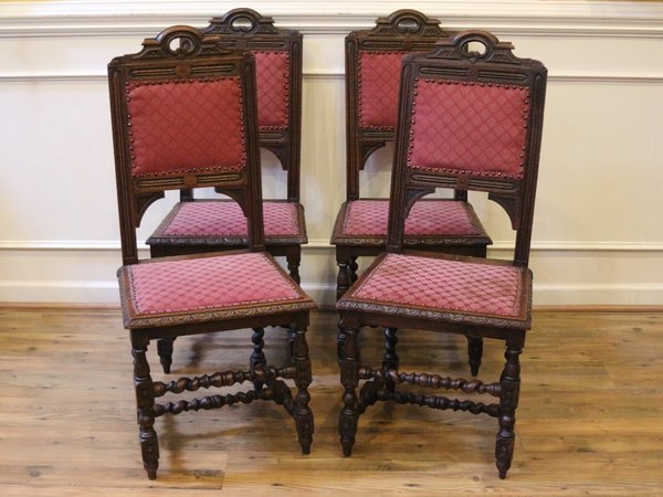 Set of 4 Antique English Oak Barley Twist Dining Chairs, Hand Carved, 19th  Century. - Set Of 4 Antique English Oak Barley Twist Dining Chairs, Hand Carved