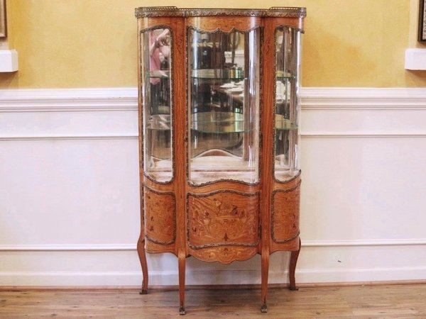 Antique French Inlaid Marquetry Vitrine, Curio, China Cabinet. 19th C. - Antique French Inlaid Marquetry Vitrine, Curio, China Cabinet