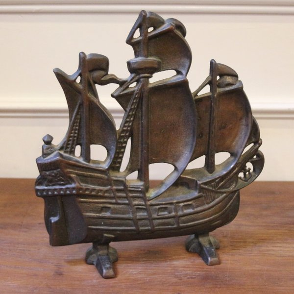 Vintage Cast Iron Ship Door Stop, Mayflower, Sail Ship. - SOLD! Vintage Cast Iron Ship Door Stop, Mayflower, Sail Ship
