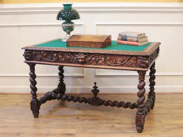 Antique English Oak Barley Twist Carved Desk, Library Table C.1880. - Antique English Oak Barley Twist Carved Desk, Library Table C.1880