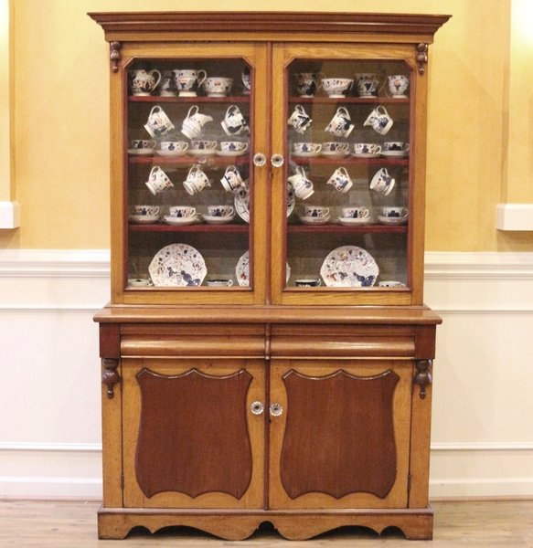Antique China Cabinet, Mahogany & Oak Welsh Dresser, Hutch. English. - Antique China Cabinet, Welsh Dresser, Kitchen Hutch, English