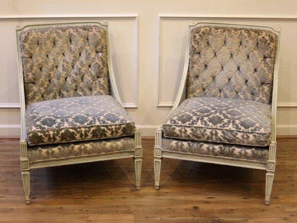 Preferred Pair of Vintage Accent Slipper Chairs, Mid Century, Hibriten Chair  PR52