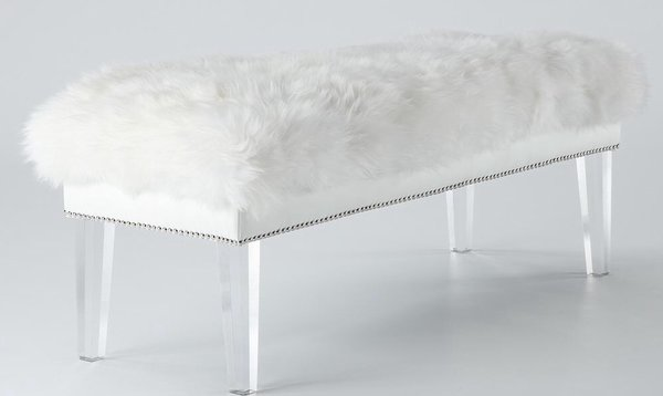 Fuzzy Luxe Bench Glamhomefurniture Com