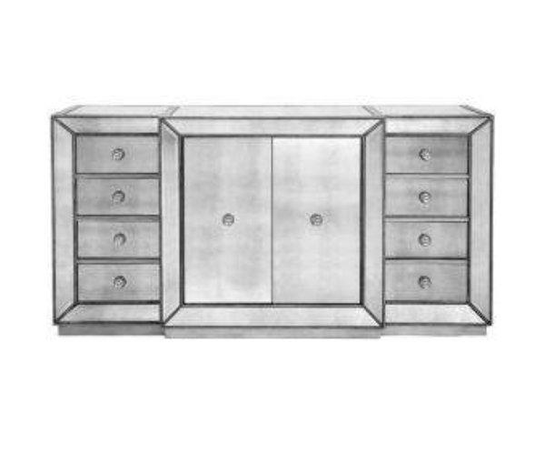 Length 72 width 20 height 37 material glass mirrors for Miroir buffet