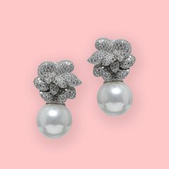 Lara Heems White Pearl Rose Earrings