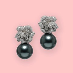Lara Heems Grey Rose Pearl Earrings