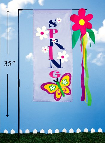 Spring Butterfly Flag with Pole (12 PCS SET)