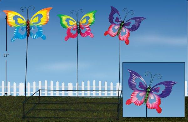 Lg Butterfly Metal Plant Sticks (12 PCS SET)