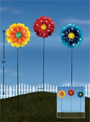 Giant Flower Metal Plant Sticks with Display (12 PCS SET)