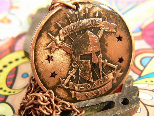 Molon Labe Copper Pendant Bungalow D Coin Rings