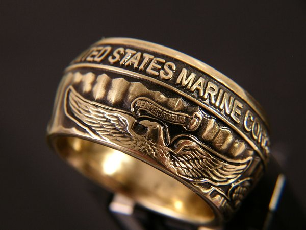 Marine Corps Wide Body Ring   Bungalow-D Coin Rings