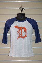 Detroit Michigan D 3/4 Sleeve Tee (Navy)