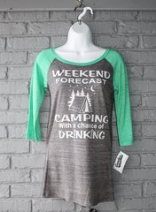Weekend Forecast 3/4 Sleeve Tee (Dark Heather/Green)