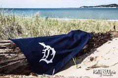 Detroit Michigan D Beach Blanket (navy)