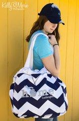 Home Chevron Beach Bag (Silver Glitter)
