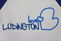 Love Ludington 3/4 Sleeve Tee (White Fleck/Navy)