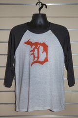 Detroit Michigan D 3/4 Sleeve Tee (Charcoal)