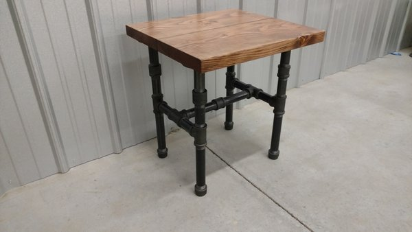 Modern Industrial Black Steel Pipe Side Table Barnboards