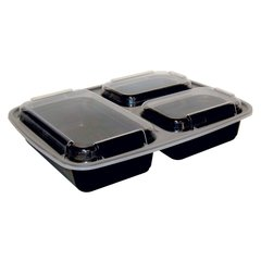 A World Of Deals 3 Compartment Microwave Safe, Plastic Storage Food Container with Lid, Divided Plate, Bento Box, Lunch Tray with Cover (10 Pack)