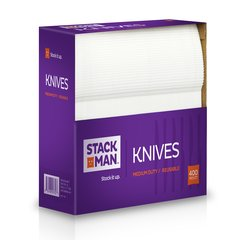 Stack Man Medium Weight White Plastic Knive - 400 / Case