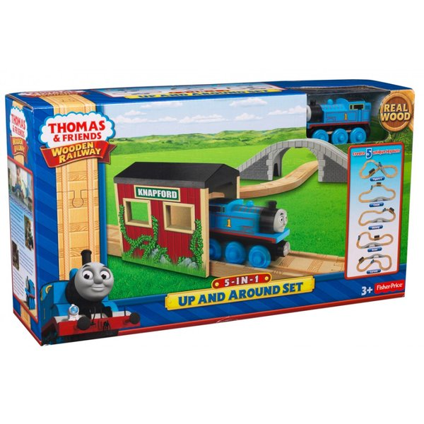 Fisher-Price Thomas and Friends - Up and Around Sodor 5-In-1 Wooden Railway Set (20 pcs)