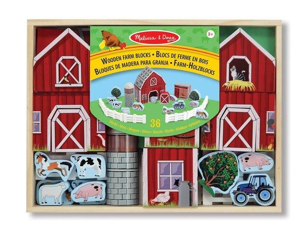 Melissa & Doug Wooden Farm Block Set