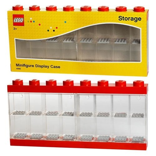 Lego Minifigure Display Case (Holds 16) - Red or Black