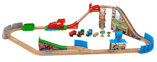Thomas and Friends Wooden Railway Race Day Relay Set (includes Thomas and Gina)