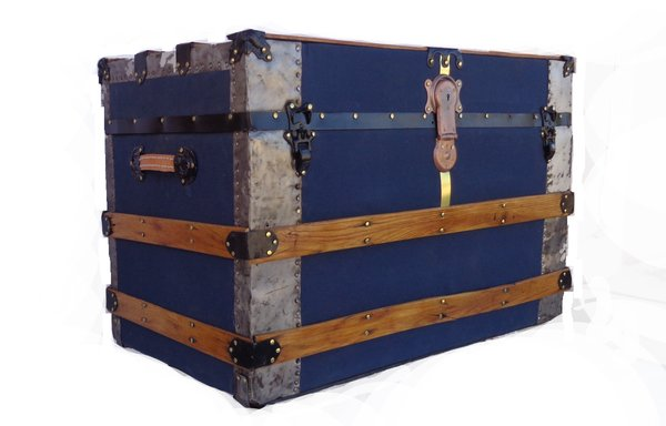 Traditional antique travel trunk in navy canvas
