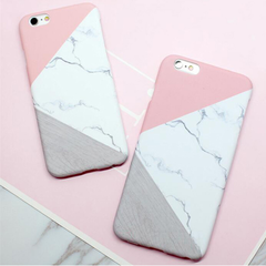 Geometric Pink Print Marble iPhone 6/6s Case