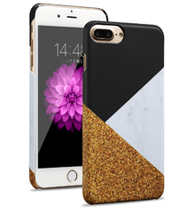 Black Gold Colour Block Geo Marble Print iPhone 6/6s Case