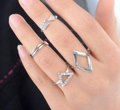 Mixed Arrow Triangle Midi and Rings Set