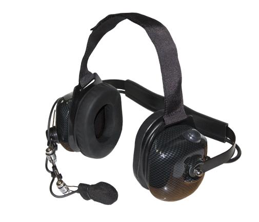 Carbon look metal rail headset
