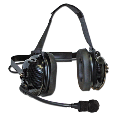 Carbon look flex boom headset