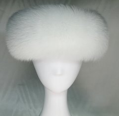 Headband - Rare Genuine White Fox Fur Headband